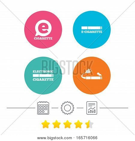 E-Cigarette with plug icons. Electronic smoking symbols. Speech bubble sign. Calendar, cogwheel and report linear icons. Star vote ranking. Vector