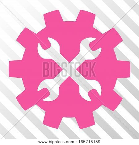 Pink Tools interface icon. Vector pictograph style is a flat symbol on diagonal hatch transparent background.