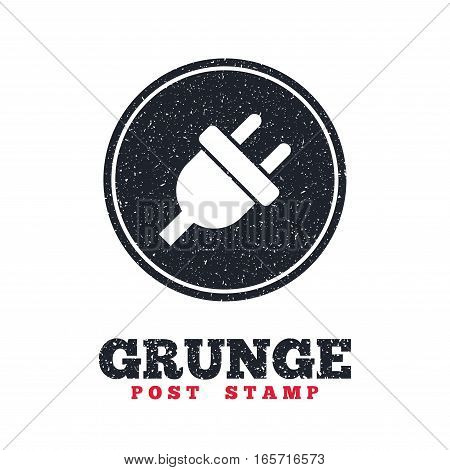 Grunge post stamp. Circle banner or label. Electric plug sign icon. Power energy symbol. Dirty textured web button. Vector