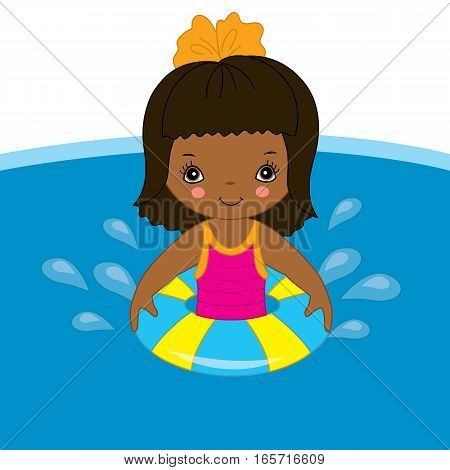 Vector African American little girl is swimming in pool