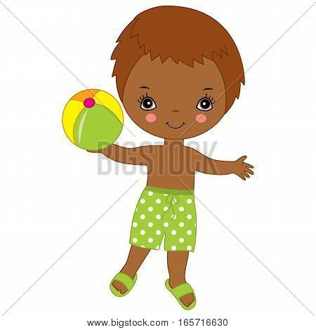 Vector Little African American little boy with ball