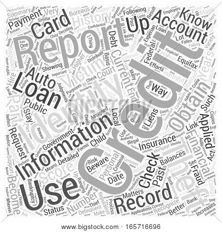 check credit report identity theft Word Cloud Concept
