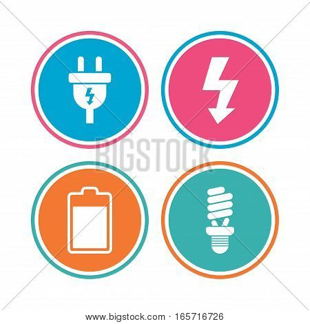Electric plug icon. Fluorescent lamp and battery symbols. Low electricity and idea signs. Colored circle buttons. Vector