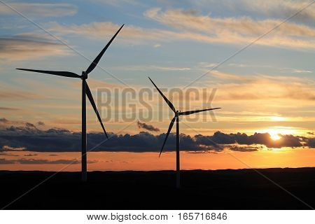 Wind Turbines at Sunset in Eastern Washington State