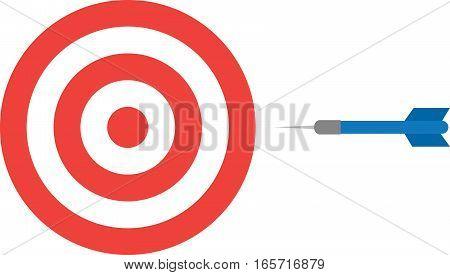 Vector illustration of red bullseye and blue dart.