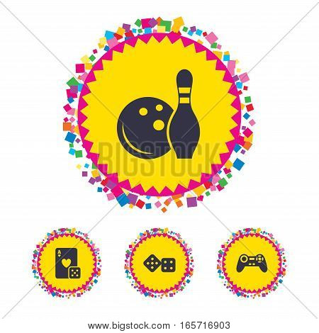 Web buttons with confetti pieces. Bowling and Casino icons. Video game joystick and playing card with dice symbols. Entertainment signs. Bright stylish design. Vector