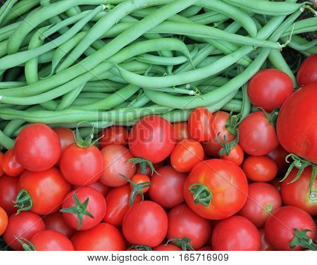 Closeup of Fresh Green Beans and Just Picked Tomatoes