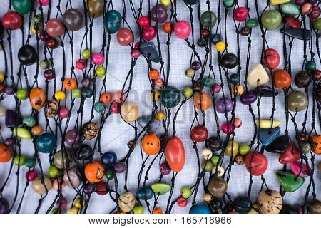 colourful beads in the Otavalo market Ecuador