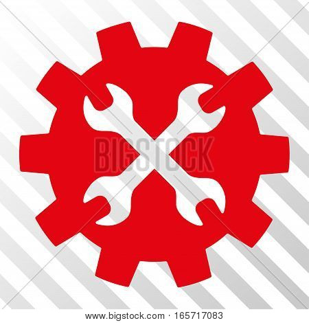 Red Tools toolbar icon. Vector pictogram style is a flat symbol on diagonal hatch transparent background.