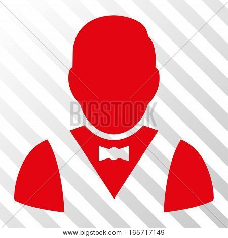 Red Waiter toolbar pictogram. Vector pictograph style is a flat symbol on diagonally hatched transparent background.