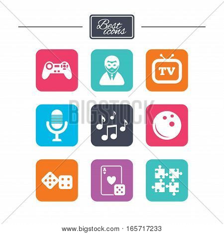 Entertainment icons. Game, bowling and puzzle signs. Casino, carnival and musical note symbols. Colorful flat square buttons with icons. Vector
