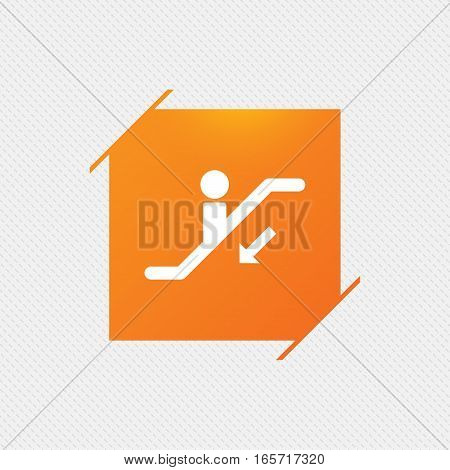Escalator staircase icon. Elevator moving stairs down symbol. Orange square label on pattern. Vector