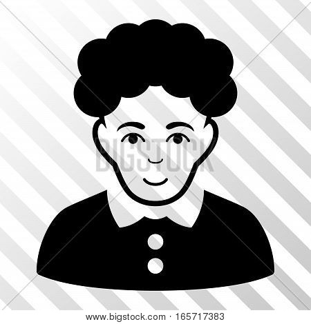 Black Brunette Woman interface toolbar icon. Vector pictograph style is a flat symbol on diagonally hatched transparent background.