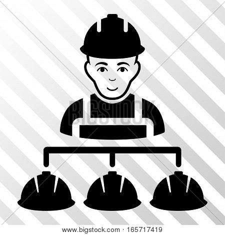 Black Builder Management interface pictogram. Vector pictogram style is a flat symbol on diagonally hatched transparent background.