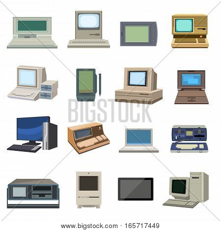 Vector set of retro and vintage computer items. Classic antique technology style business personal equipment. Pc desktop hardware communication object.