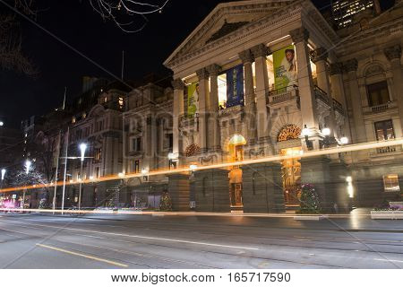 Melbourne, Australia - August 17, 2016: View Of A Melbourne City Street At Night. Long Exposure Imag