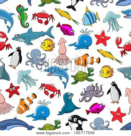 Sea fish, ocean animals and shellfish cartoon seamless pattern of vector clown fish and butterflyfish, starfish and jellyfish, dolphin, shark and whale, seahorse and octopus, stingray and penguin, lobster crab and squid, turtle, tropical fishes