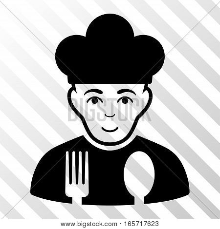 Black Cook interface pictogram. Vector pictogram style is a flat symbol on diagonally hatched transparent background.