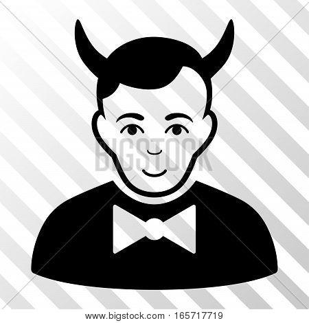 Black Devil toolbar pictogram. Vector pictogram style is a flat symbol on diagonally hatched transparent background. poster