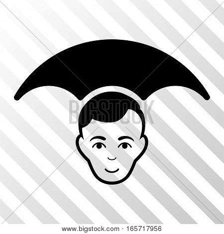 Black Head Umbrella interface pictogram. Vector pictograph style is a flat symbol on diagonal hatch transparent background.