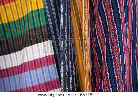 colourful textiles in Otavalo Ecuador artisan market