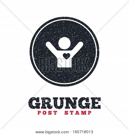 Grunge post stamp. Circle banner or label. Fans love icon. Man raised hands up sign. Dirty textured web button. Vector
