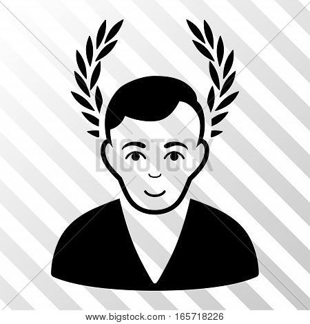 Black Man Glory interface toolbar icon. Vector pictograph style is a flat symbol on diagonally hatched transparent background.