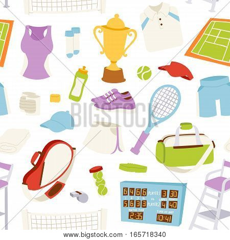 Vector illustration of various athlete stylized tennis icons. Champion training exercise fashion equipment. Fitness game tournament collection.