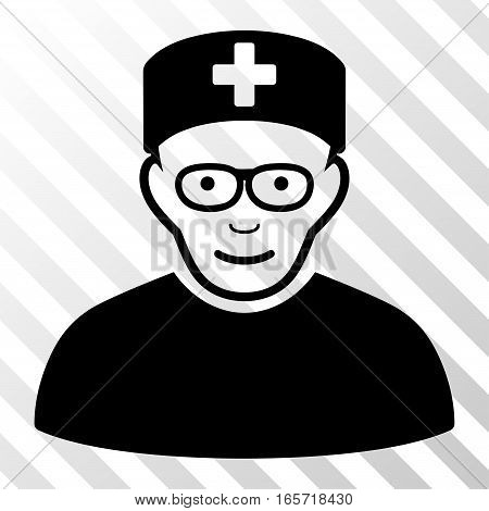 Black Medical Specialist interface toolbar pictogram. Vector pictogram style is a flat symbol on diagonal hatch transparent background.