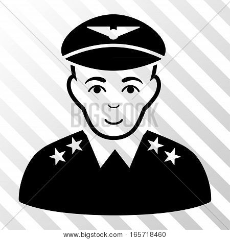 Black Military Pilot Officer interface toolbar icon. Vector pictogram style is a flat symbol on diagonally hatched transparent background.