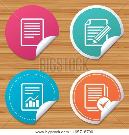 Round stickers or website banners. File document icons. Document with chart or graph symbol. Edit content with pencil sign. Select file with checkbox. Circle badges with bended corner. Vector