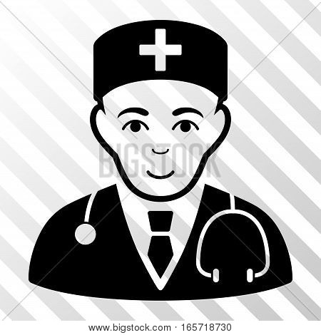 Black Physician toolbar pictogram. Vector pictograph style is a flat symbol on diagonally hatched transparent background.