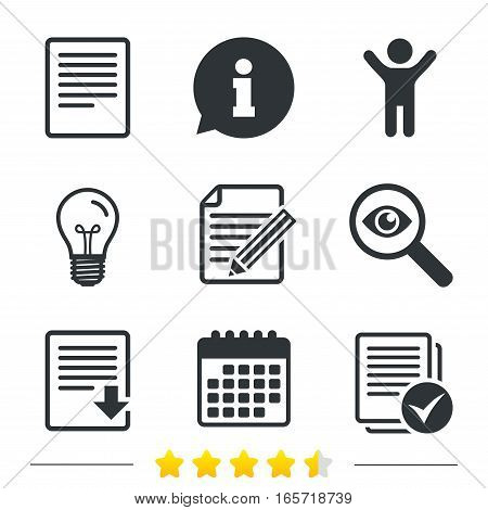 File document icons. Download file symbol. Edit content with pencil sign. Select file with checkbox. Information, light bulb and calendar icons. Investigate magnifier. Vector