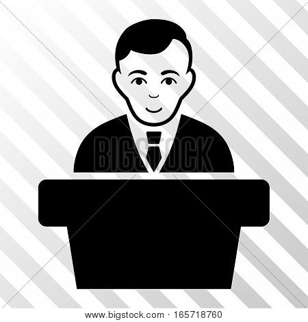 Black Politician toolbar icon. Vector pictograph style is a flat symbol on diagonal hatch transparent background.