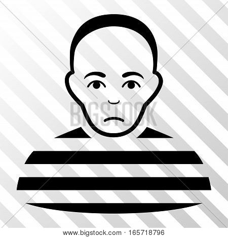Black Prisoner interface toolbar icon. Vector pictogram style is a flat symbol on diagonally hatched transparent background.