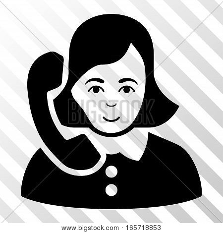 Black Receptionist interface pictogram. Vector pictograph style is a flat symbol on diagonal hatch transparent background.