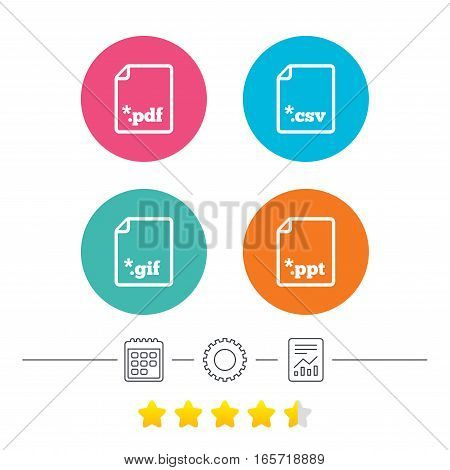 Download document icons. File extensions symbols. PDF, GIF, CSV and PPT presentation signs. Calendar, cogwheel and report linear icons. Star vote ranking. Vector