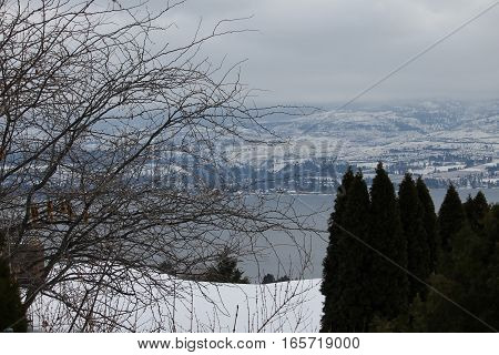 View from across the lake - winter scenic