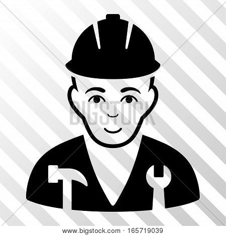 Black Serviceman toolbar icon. Vector pictograph style is a flat symbol on diagonal hatch transparent background.