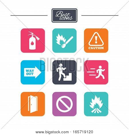 Fire safety, emergency icons. Fire extinguisher, exit and attention signs. Caution, water drop and way out symbols. Colorful flat square buttons with icons. Vector