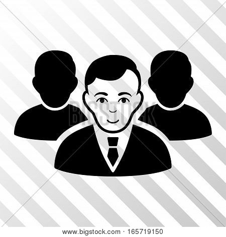 Black Team toolbar pictogram. Vector pictograph style is a flat symbol on diagonally hatched transparent background.