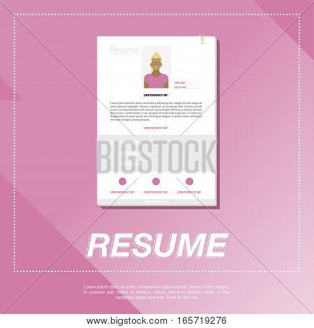CV resume template for a girl. Flat vector illustration EPS 10