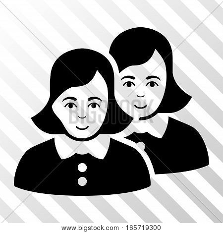 Black Women toolbar pictogram. Vector pictograph style is a flat symbol on diagonally hatched transparent background.