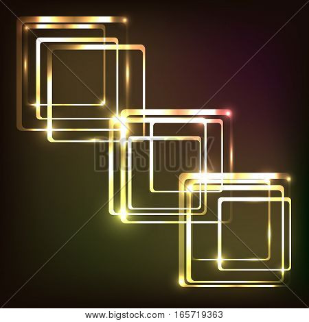 Abstract glowing colorful with rounded rectangle, stock vector