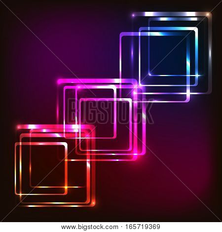 Abstract glowing colorful background with rounded rectangles, stock vector
