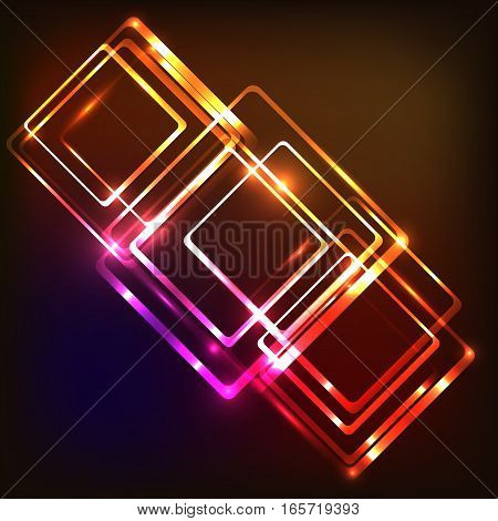 Abstract neon background with rounded rectangles, stock vector