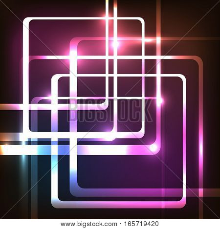 Abstract background with glowing rounded rectangles, stock vector