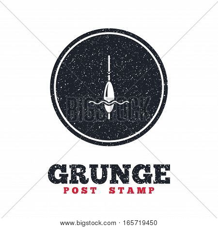 Grunge post stamp. Circle banner or label. Fishing sign icon. Float bobber symbol. Fishing tackle. Dirty textured web button. Vector