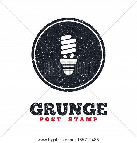 Grunge post stamp. Circle banner or label. Fluorescent lamp bulb sign icon. Energy saving. Idea and success symbol. Dirty textured web button. Vector