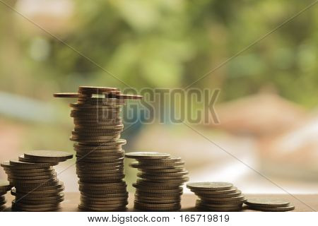 stack of coins concept idea for business and money growth.